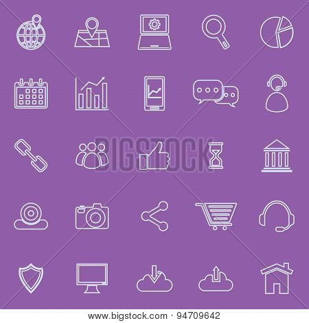 Seo Line Icons On Violet Background