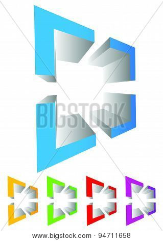 Abstract Cross-hair, Reticle Graphics. Generic 3D Icon, Design Element. 4 Colors Included With The D