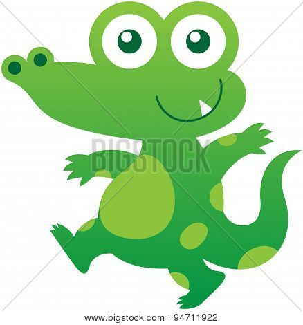 Cute green crocodile walking and smiling mischievously