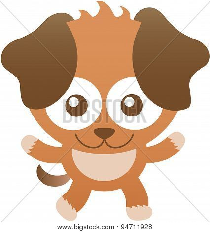 Cute  baby dog smiling and opening its arms