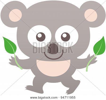 Cute koala smiling and holding eucalyptus leaves