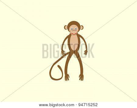 Brown monkey long tail style children