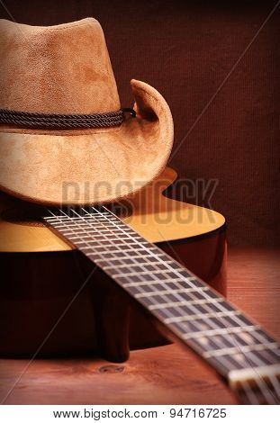 Cowboy Hat And Guitar For Text