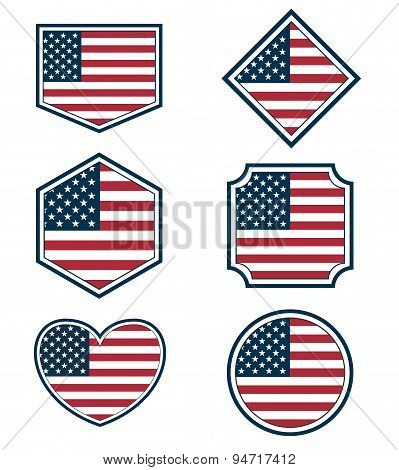 Set Of American Flags And Hearts3