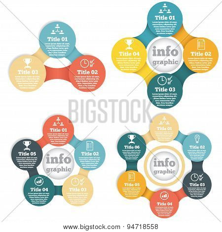 Set of business circle info graphic, diagram, presentation with steps poster