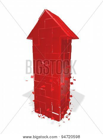 Financial Problems Concept With Red Arrow