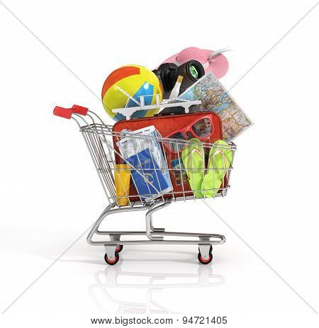 Shopping Cart With Beach Accessories. Summer Shopping. Sunbed, Sunglass, World Map, Beach Shoes, S