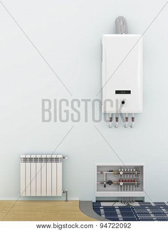 Alternative Heating Underfloor. Scheme Of Heat Exchange Coil