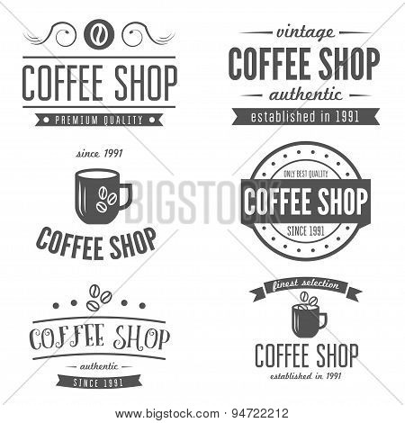 Set of vintage labels, emblems, and logo templates for coffee shop, cafe, cafeteria, bar or restaura