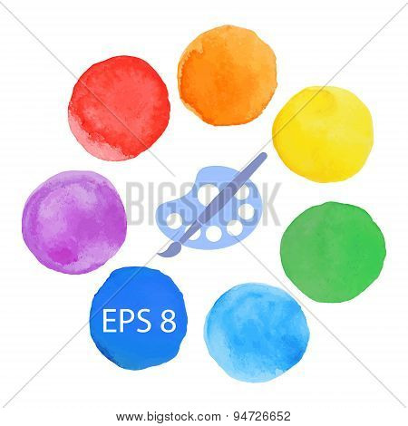Paint brush with palette icon vector art palette with seven colors