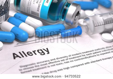 Diagnosis - Allergy. Medical Concept. 3D Render.