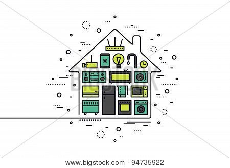 Smart House Technology Line Style Illustration