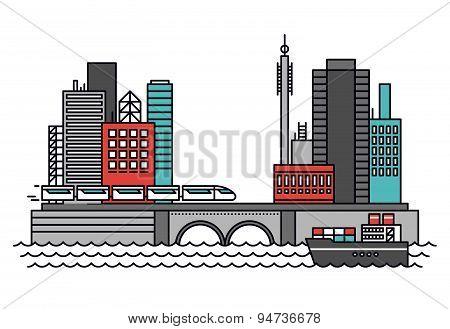 Urban Transportation Line Style Illustration
