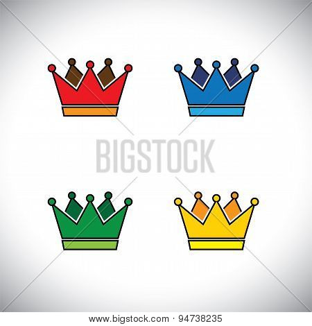 Shining Golden Crown Concept Logo Vector Icon