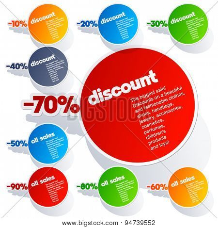 Set of vector colorful sticker labels for sales
