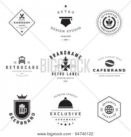 Retro Logotypes vector set. Vintage graphics design elements for logos, identity, labels, badges, ribbons, arrows and other objects.  poster
