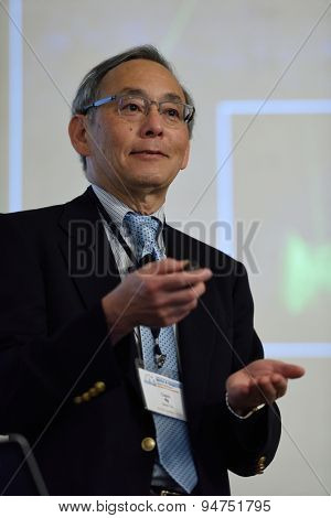 ST. PETERSBURG, RUSSIA - JUNE 22, 2015: Nobel Prize Laureate in physics Steven Chu during Saint Petersburg scientific forum