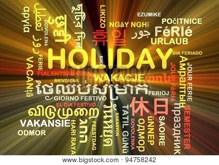 Background concept wordcloud multilanguage international many language illustration of holiday glowing light