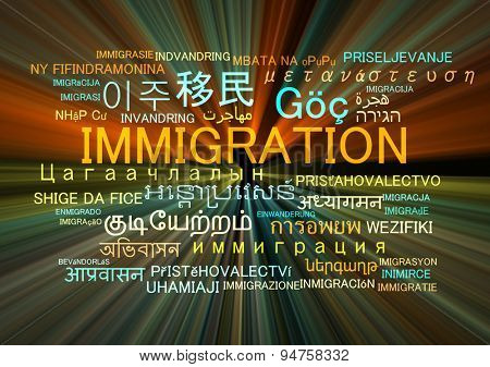 Background concept wordcloud multilanguage international many language illustration of immigration glowing light