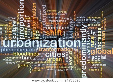 Background concept wordcloud illustration of urbanization glowing light