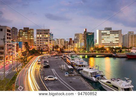 Naha, Okinawa, Japan cityscape at Tomari Port.