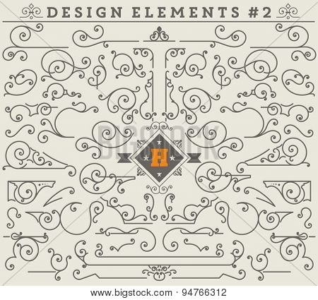 Vintage Ornaments Decorations Design Elements # 2.  Vector stock