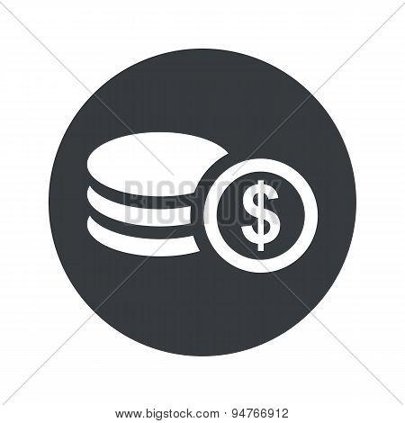 Monochrome round dollar rouleau icon
