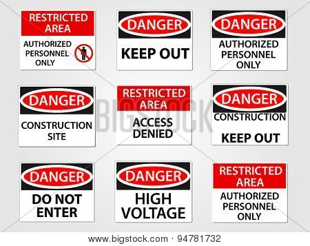 Danger and Restricted Area Workplace Signs Set