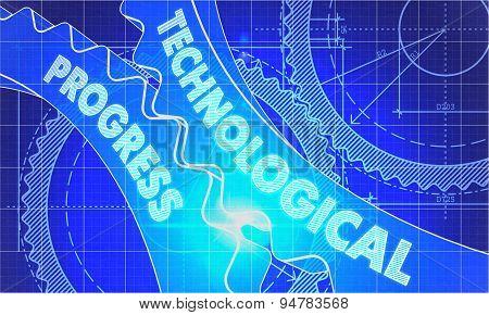 Technological Progress Concept. Blueprint of Gears.