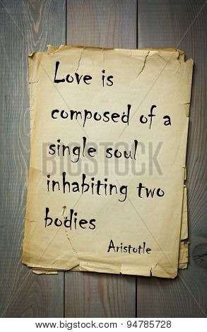 Quote of the ancient Greek philosopher Aristotle about love.