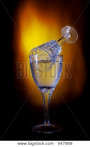 photo of wine glass with romantic lightning and color poster