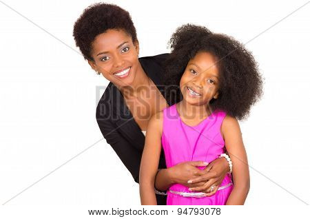 Black mother daughter posing happily