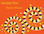Striped spiral shapes keep rotating in an abstract background vector illustration of the illusory motion variety. poster