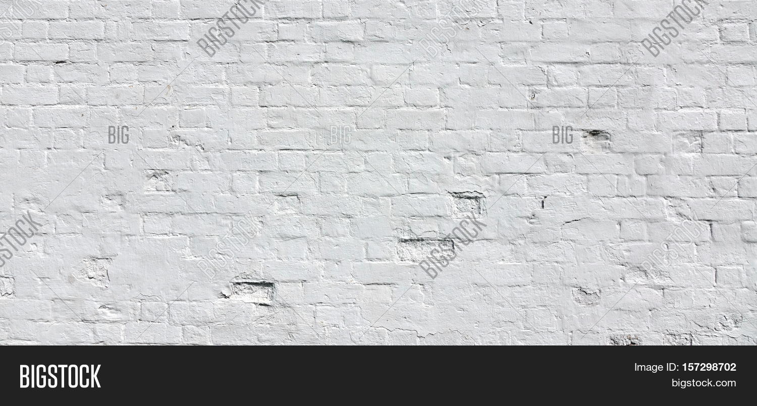 White Rustic Brick Wall Texture Retro Whitewashed Old Surface Vintage Solid Structure
