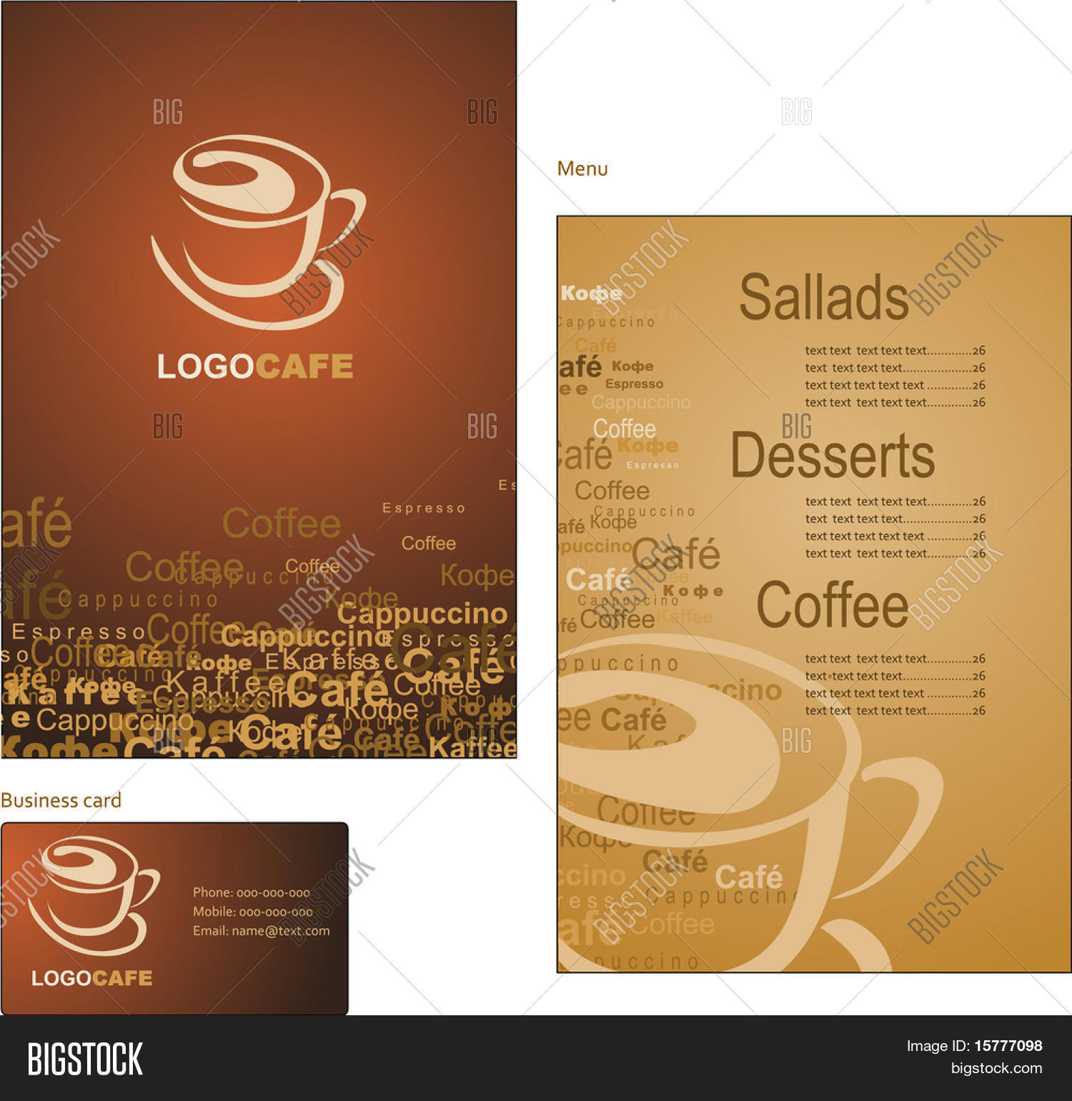 Template designs menu vector photo free trial bigstock template designs of menu and business card for coffee shop and restaurant wajeb