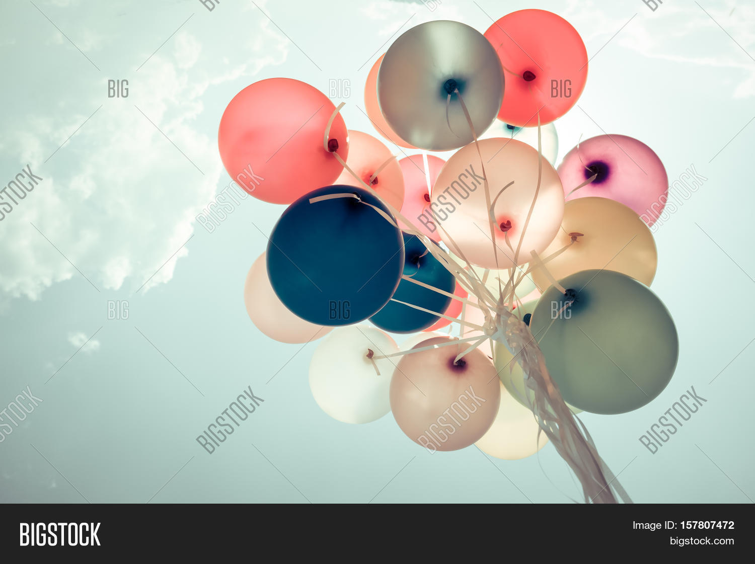 Colorful Balloons Flying On Sky With A Retro Vintage Filter Effect The Concept Of Happy