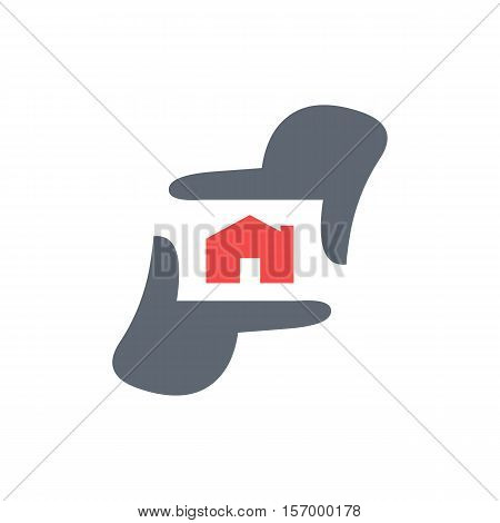 Real Estate Photography logo template, Photographer hand represent camera
