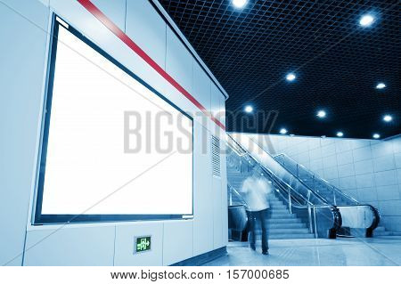Blank Ads in Subway Station concept - ready for commercial use