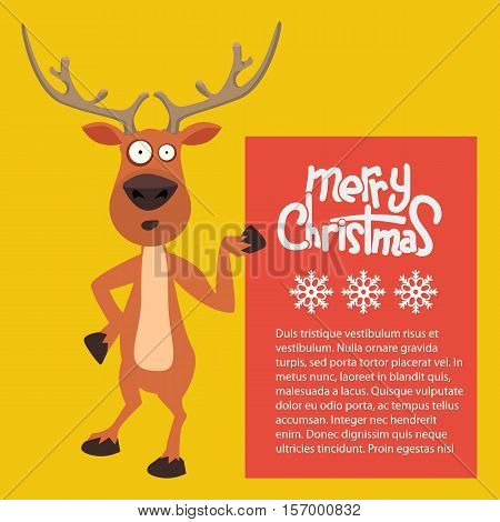 Cartoon Christmas Santas reindeer lean on and pointing at a blank board. Merry Christmas calligraphy on it.