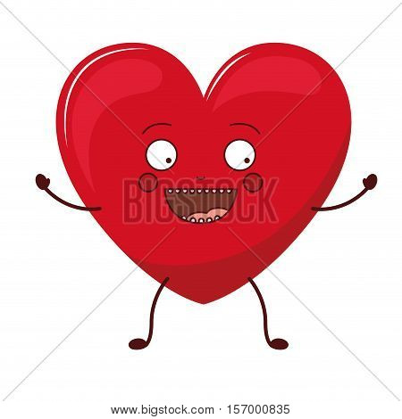 Heart shape cartoon icon. Love passion romantic and health theme. Isolated design. Vector illustration