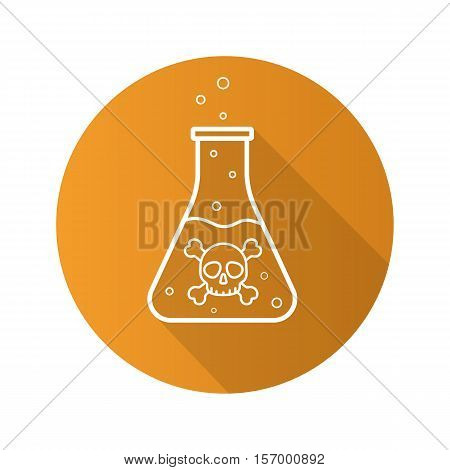 Poison bottle flat linear long shadow icon. Boiling poisonous liquid with crossbones and bubbles. Vector line symbol
