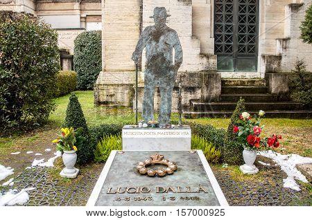 Bologna Italy Feb 15 2015: The tomb of the famous italian singer Lucio Dalla in the monumental cemetery Certosa of Bologna