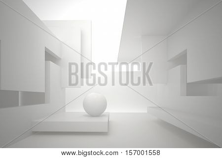 3d illustration. White interior of a non-existent building. Walls with rectangular holes multilevel ceiling white sphere on the floor. Light in perspective. Architectural minimal background render.