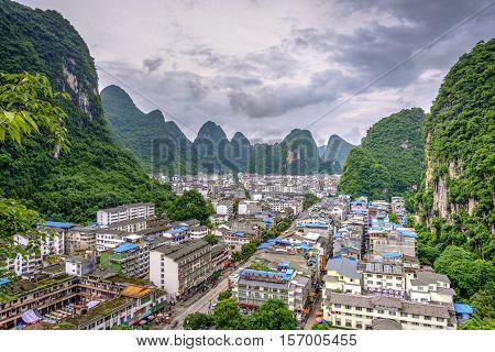 Skyline Of Yangshuo City With Karst Landscape, China