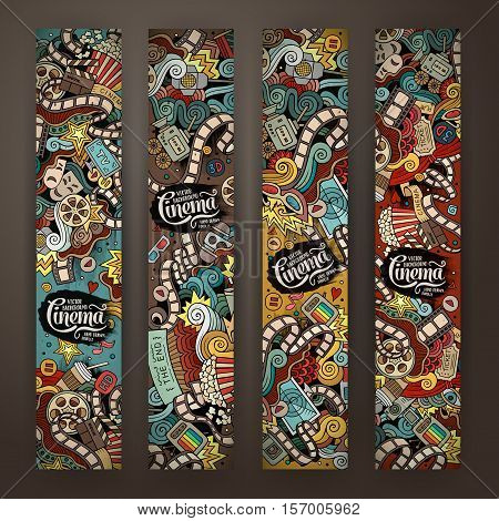 Cartoon colorful vector hand drawn doodles cinema corporate identity. 4 vertical banners design. Templates set