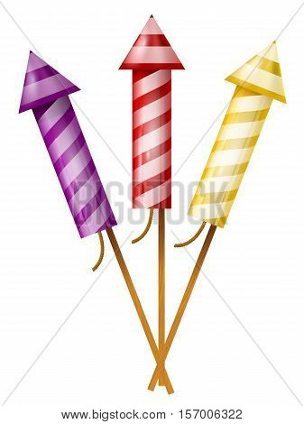 Three colorful fireworks rocket isolated on white background.
