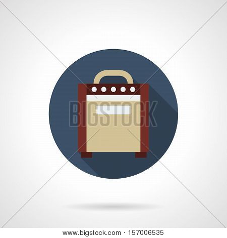 Abstract symbol of electric guitar amplifier. Equipment for concerts and festivals. Brown box with speaker, knobs, switches. Round blue flat design vector icon.
