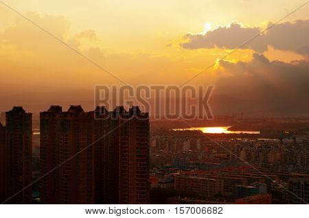 Aerial dusk of the modern metropolis landscape.
