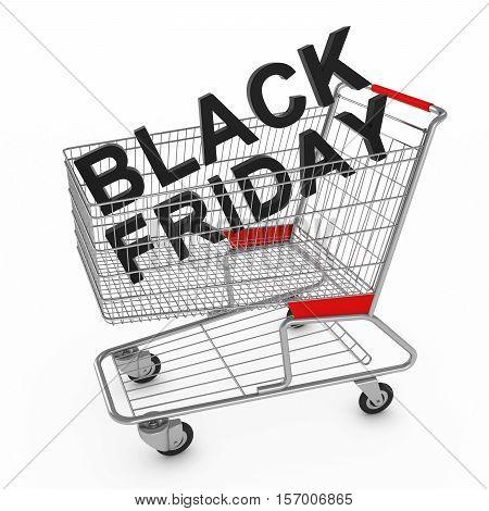 3D Black Friday Text In Supermarket Shopping Cart 3D Illustration