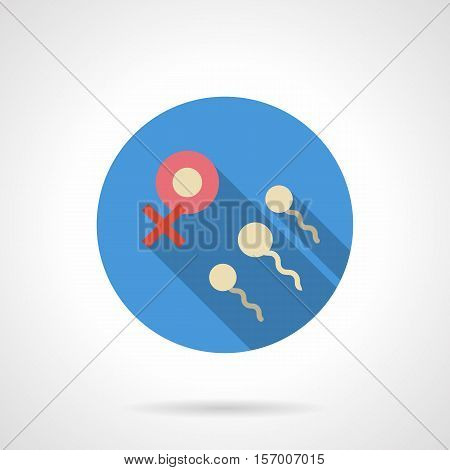 Symbol of sperm and egg cells. Problem of woman infertility. Medical research and treatment. Round blue flat design vector icon.